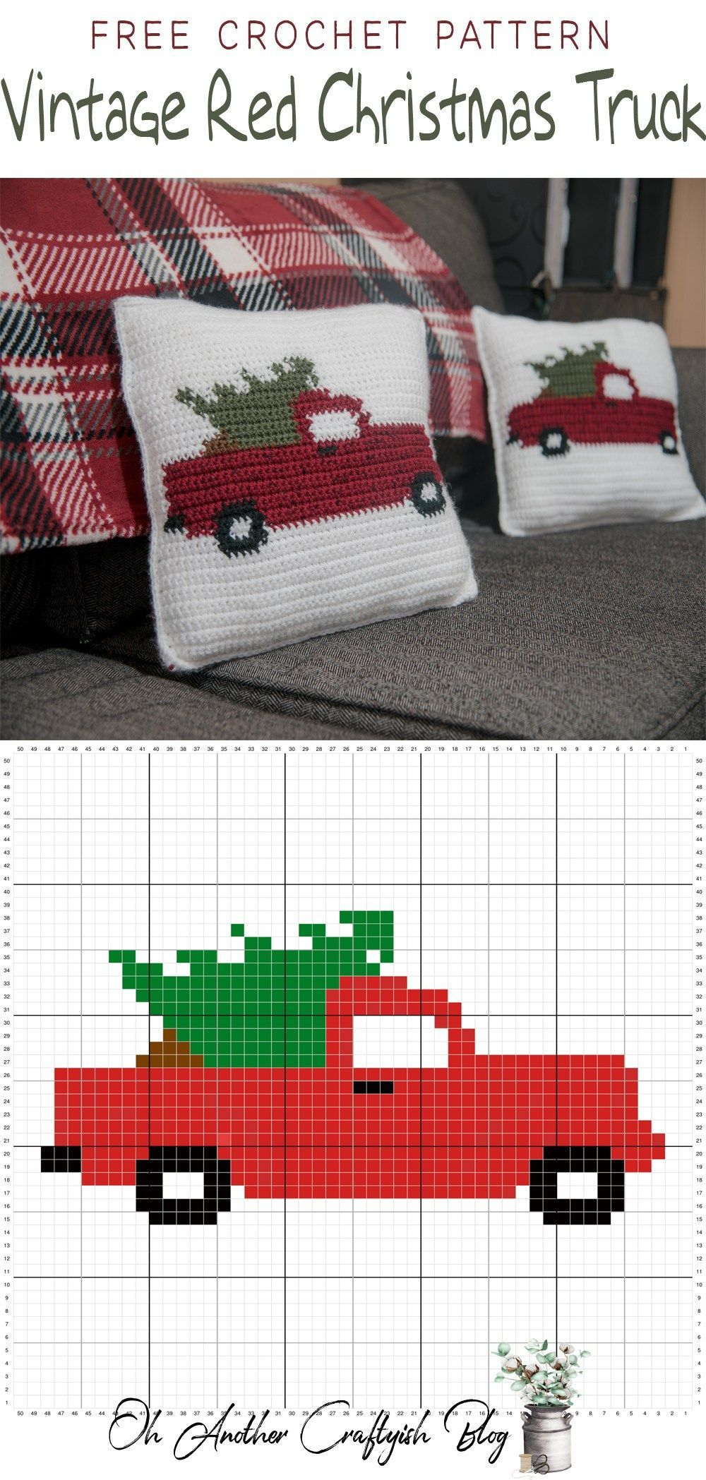 Free Crochet Pattern For The Vintage Red Christmas Truck By Tashiab Basic Granny Square Stitch Diagram