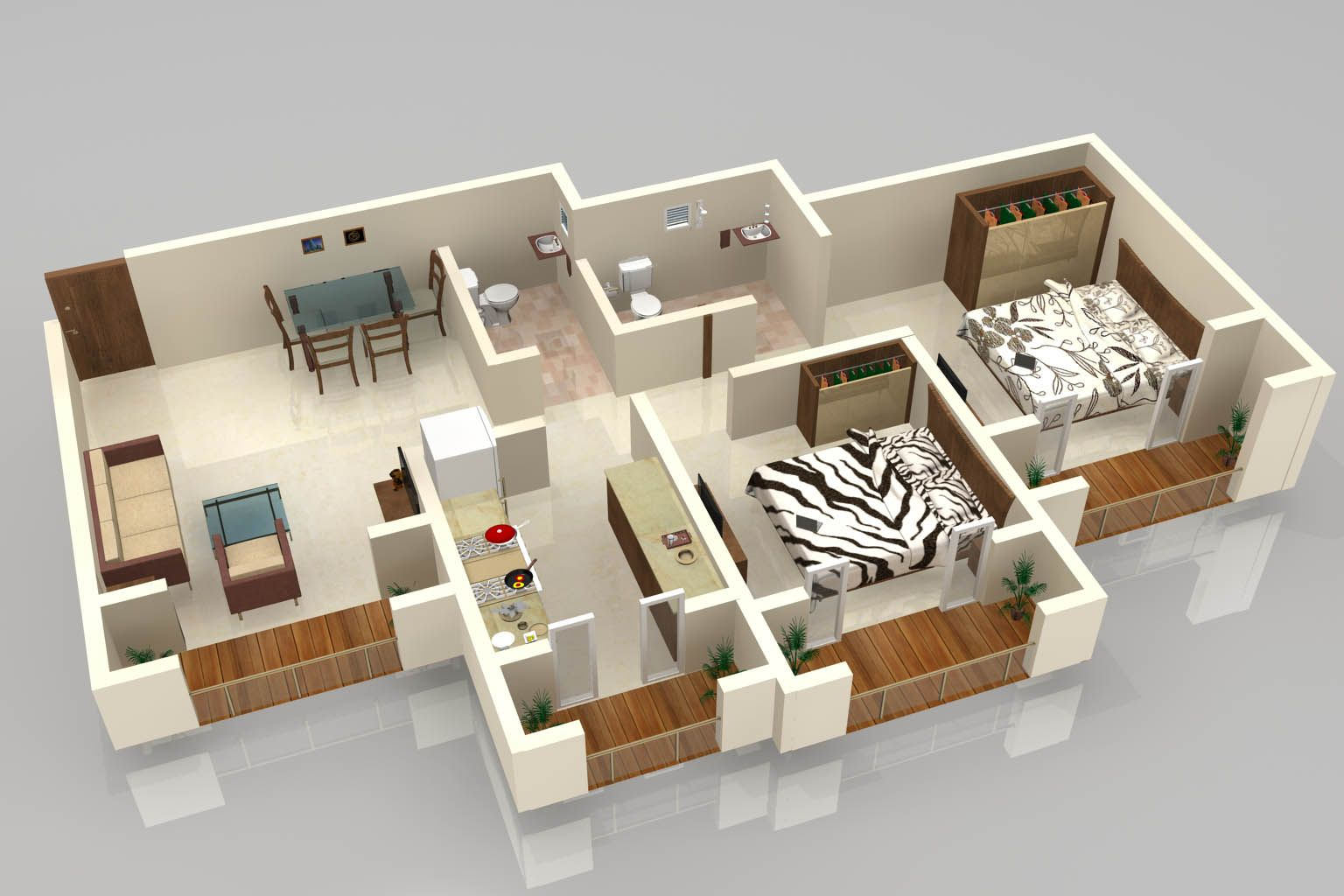 3d floor plan - Google keresés | 2 bedroom floor plans | Pinterest ...
