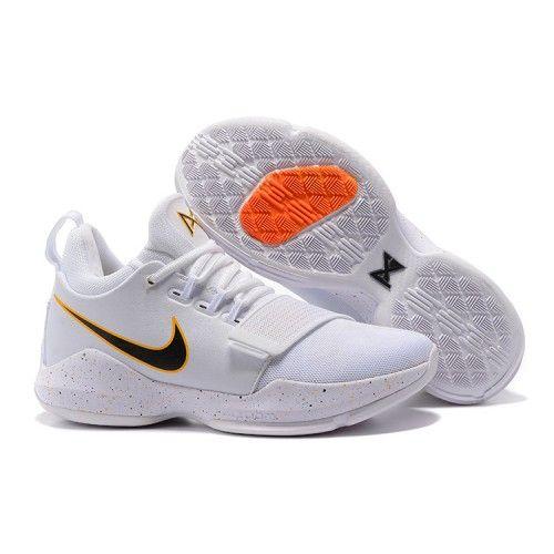 9094c37b07b Nike Paul George PG1 White Black Orange Mens Basketball Shoes