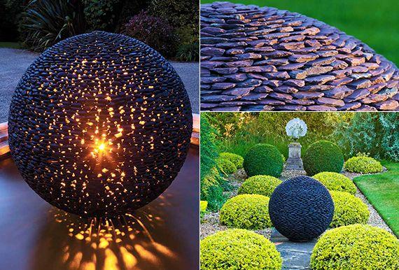 fantastische garten ideen mit großen gartenkugeln aus schwarzen steinen Garten Pinterest  ~ 22214639_Garten Springbrunnen Aus Polen