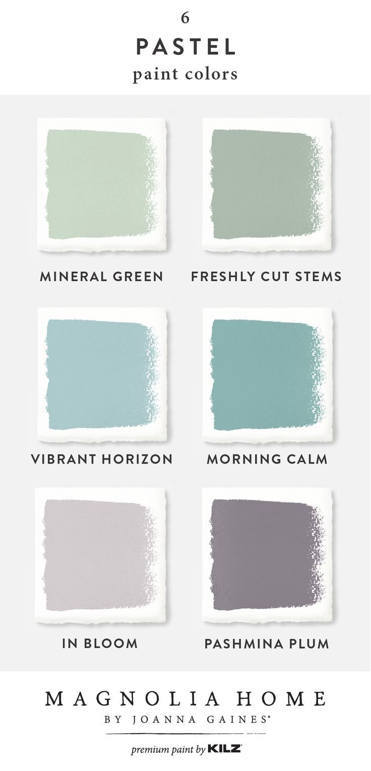 Add a splash of pastel color to the interior design of your home with this color palette from the Magnolia Home by Joanna Gaines® Paint collection. Explore light green, blue, and purple shades like Mineral Green, Freshly Cut Stems, Vibrant Horizon, Morning Calm, In Bloom, and Pashmina Plum. Click below to learn more. - #Add #Bloom #Blue #Calm #Click #collection #color #Cut #Design #Explore #Freshly #Gaines #green #Home #Horizon #interior #Joanna #joannagaines #learn #Light #Magnolia #Mineral #M #magnoliahomesjoannagaines