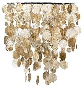 Capiz Hanging Pendant And Wire It With A Simple Diy Lighting Kit Hanging Pendants Hanging Pendant Lantern Capiz Shell Chandelier