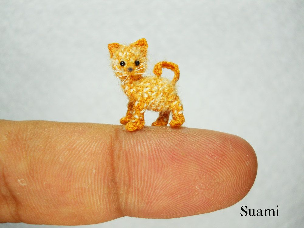 Amigurumi Kitten Patterns : Tiny cute ginger cat kitten micro mini crochet miniature