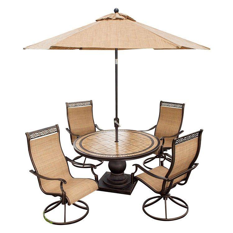 Hanover Monaco5pcsw Su Monaco Five Piece Outdoor Dining Set With 9 Table Umbrella Outdoor Dining Set Table
