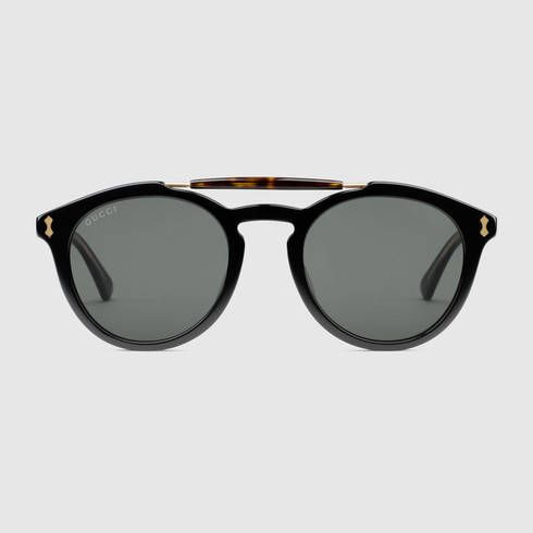 Round-Frame Acetate Sunglasses, Black in 2018 | John\'s badass style ...