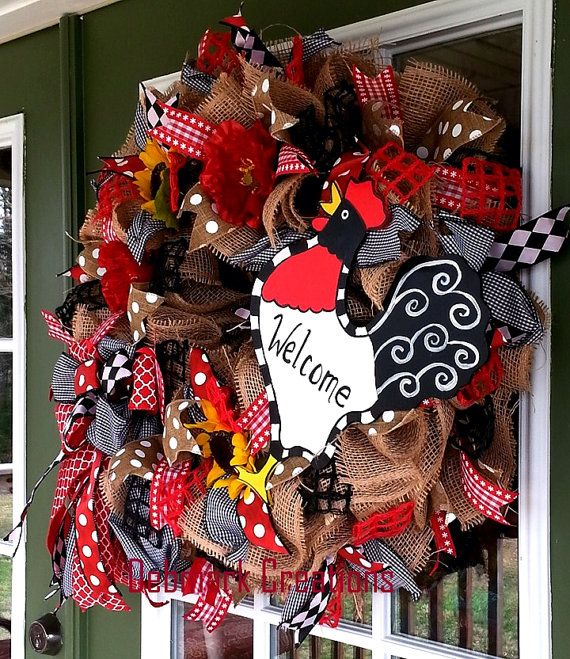 Front door wreath Welcome wreath Rooster by Debmarkcreations