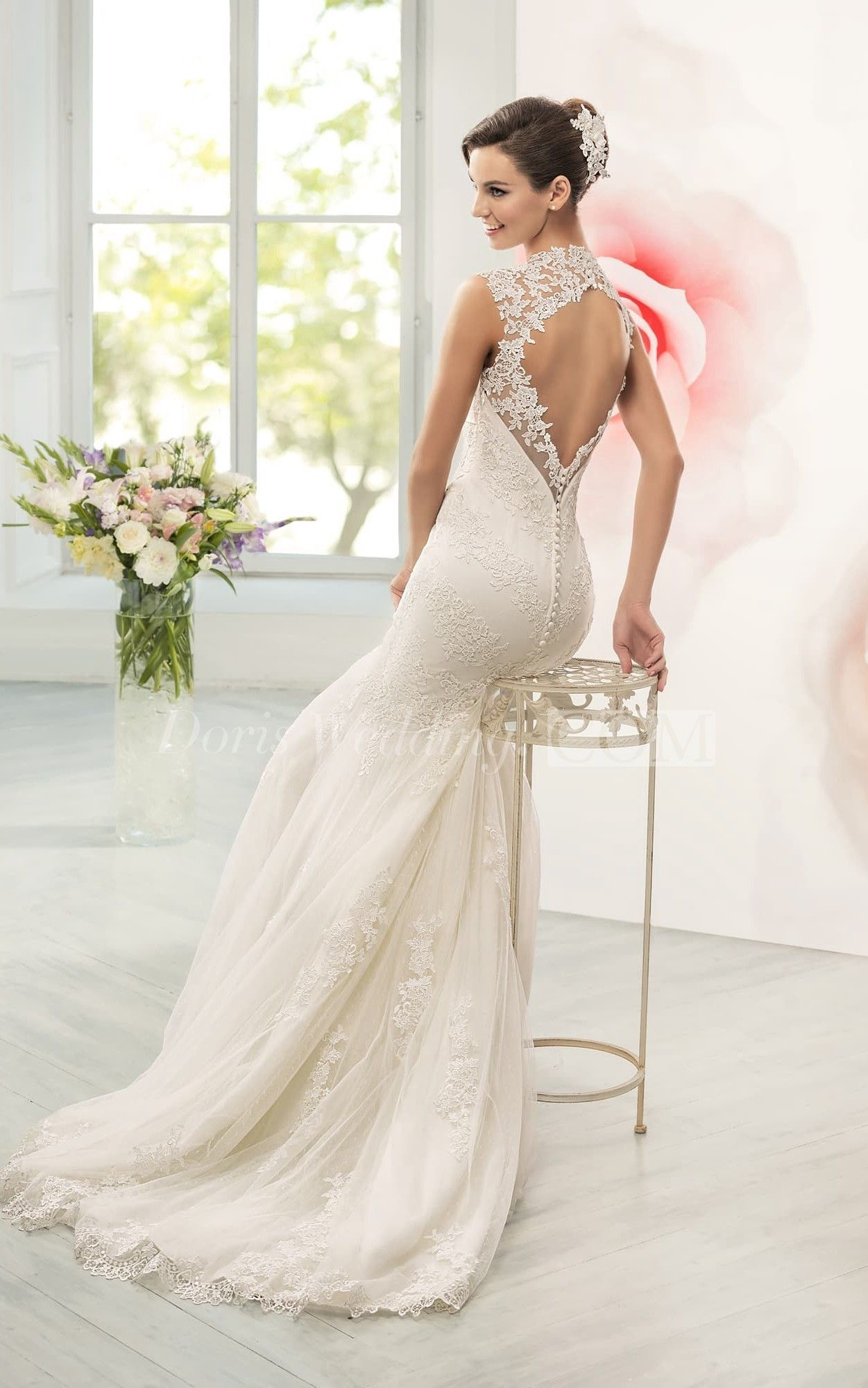 Mermaid Long Queen Anne Sleeveless Keyhole Lace Dress With Appliques And Waist Jewellery Online Wedding Dress Bridal Dresses Wedding Dresses Princess Ballgown [ 2000 x 1251 Pixel ]