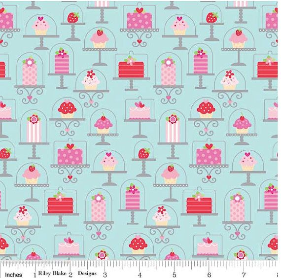 Making Amyia's pillowcase dress from this.  Sweetcakes Main Blue 1 yard cut Riley Blake