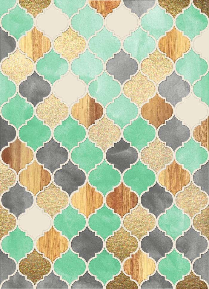 Charcoal, Mint, Wood & Gold Moroccan Pattern Art Print by Micklyn Le Feuvre