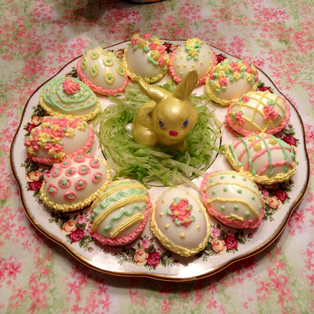 Decorated deviled eggs for Easter