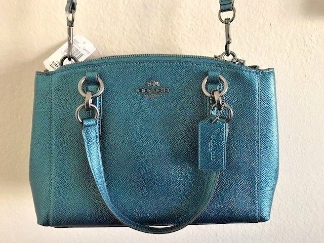 4b619bf46 NWT Coach F23337 Mini Christie Carryall In Crossgrain Leather Metallic Dark  Teal