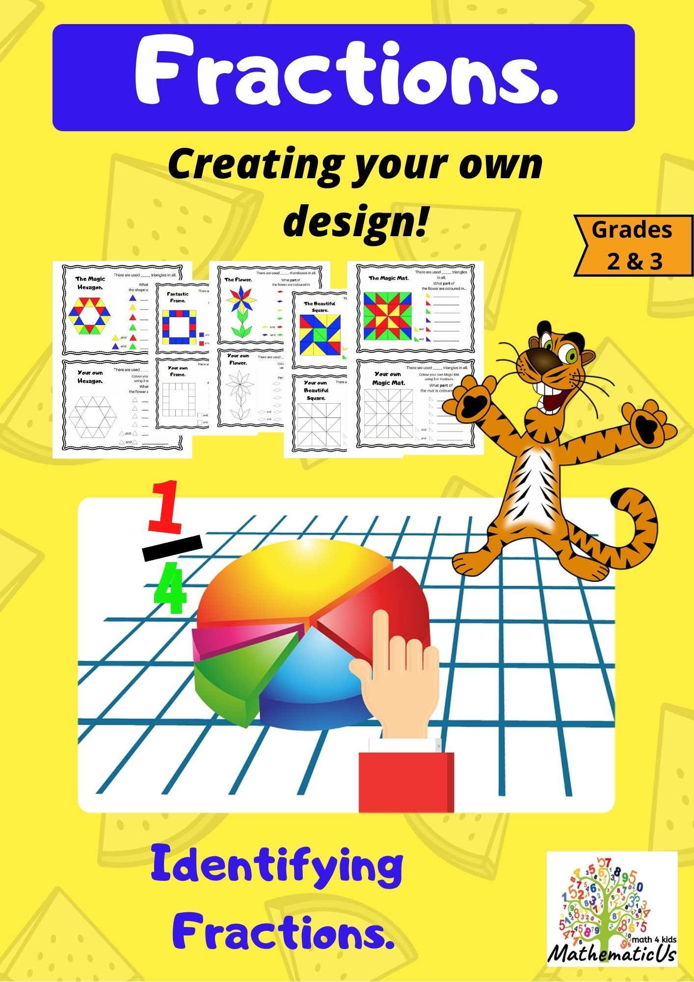 Fractions Identifying Fractions Creating Your Own Design Grade 3 Identifying Fractions Elementary School Math Fractions