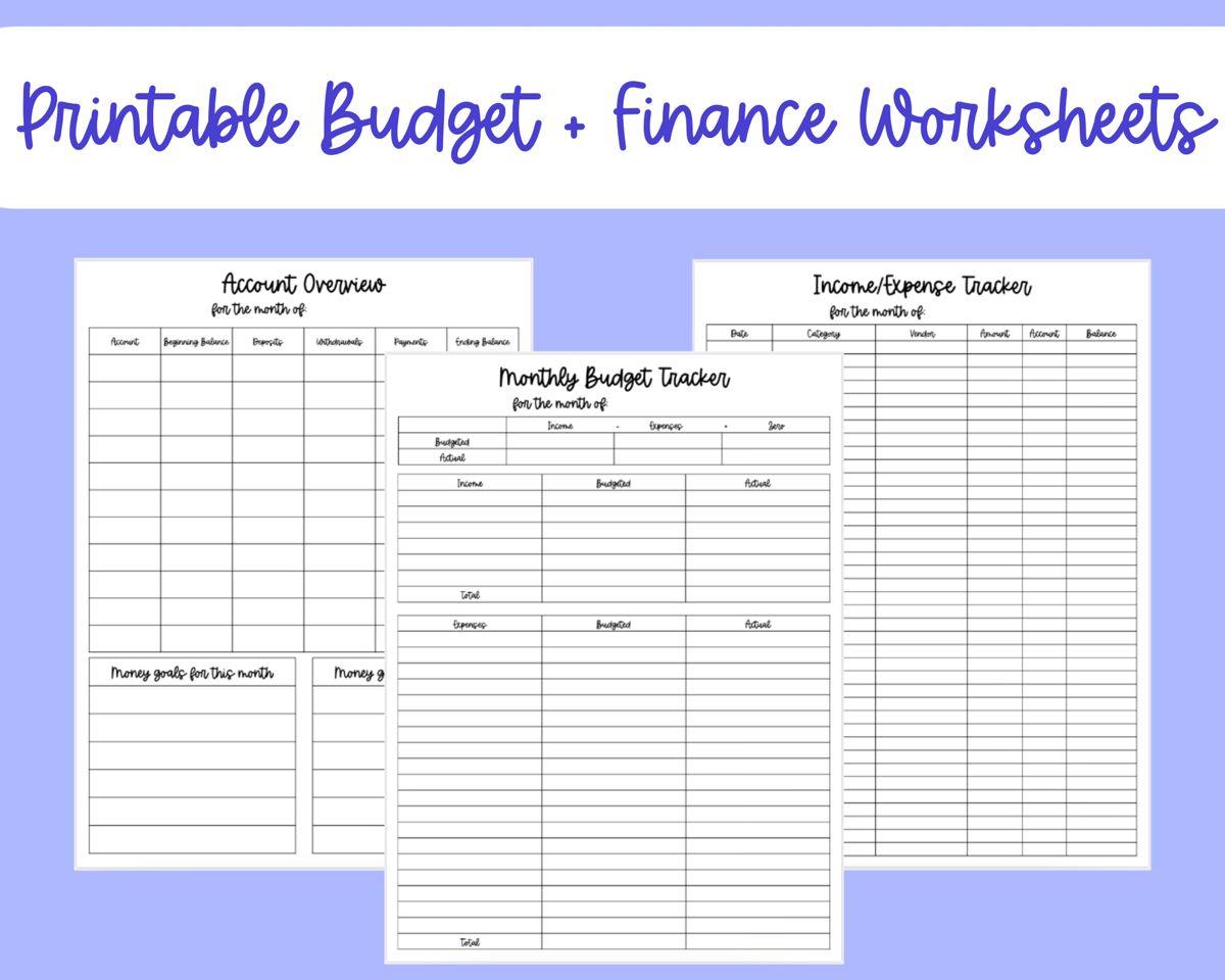 Printable Budget And Finance Worksheet Budget Printables Budget Tracker Budgeting