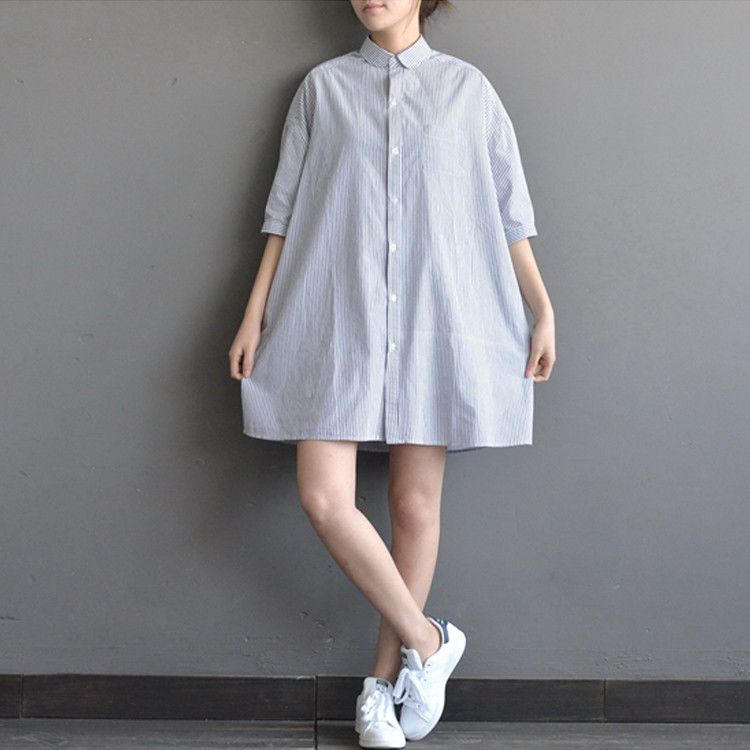 A striped t-shirt dress, white sneakers, calssic summer look   try out our fashion website www.buykud.com