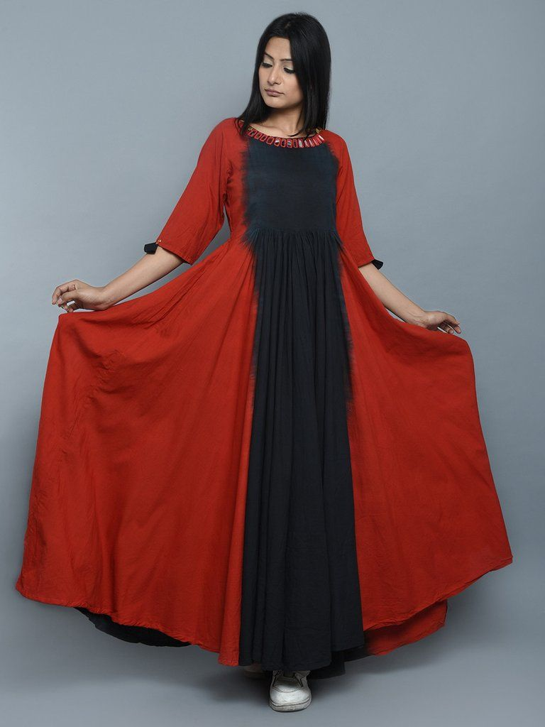 Red black cotton long dress sewing a wardrobe in pinterest
