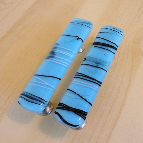 Fused Glass Drawer Pull Cabinet Pull - Blue, Black and White Home ...