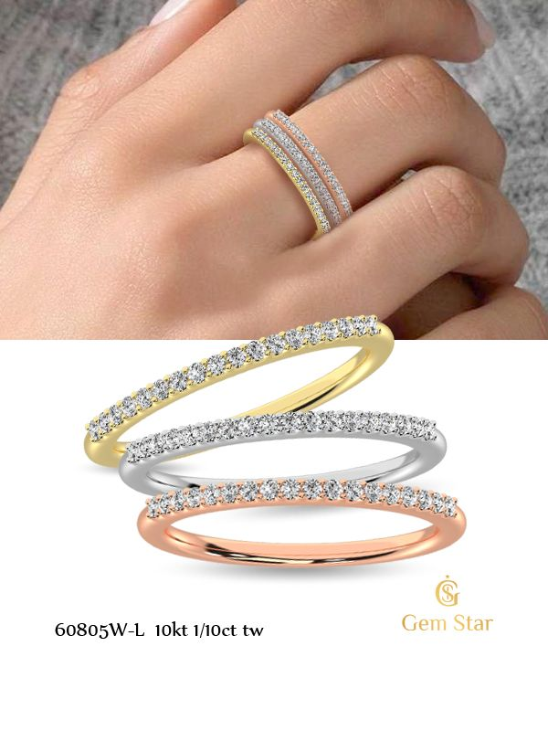 #yellowgold #pinkgold #whitegold #weddingband #stackableband #stackband #diamond #finejewelry #diamondband
