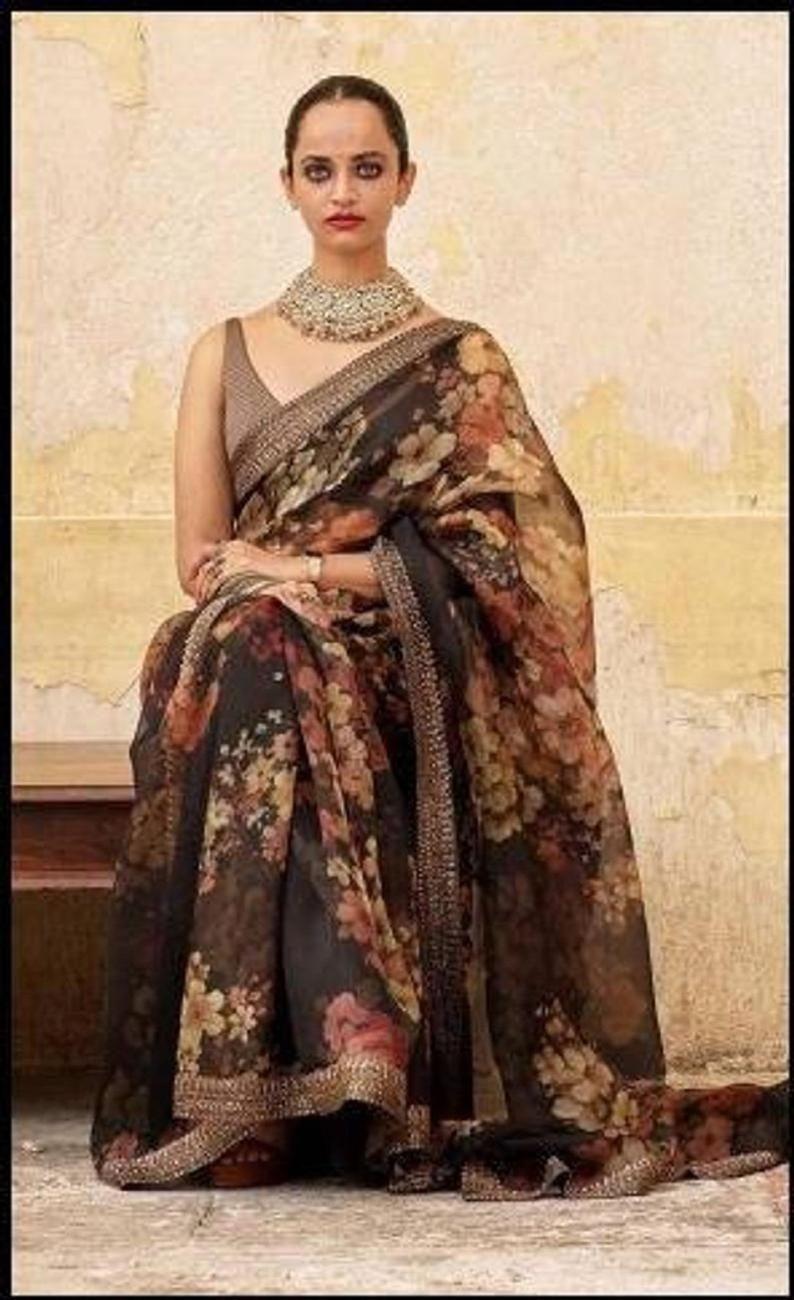 Black Color Saree,Organza Saree,Casual Wear Organza Saree Exclusive Bollywood Style New arrival Saree Digital Printed Saree With Lace Border