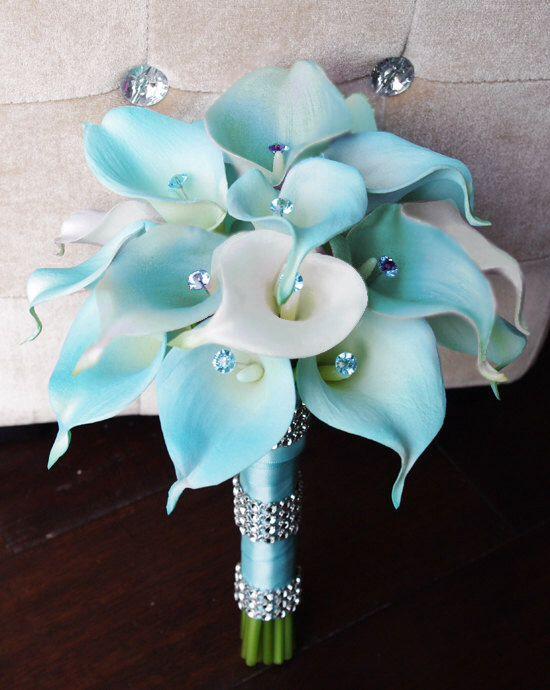 Tiffany Blue Calla Lilies I Love These Flowers Silk Flower Wedding Bouquet Flower Bouquet Wedding Calla Lily Bouquet