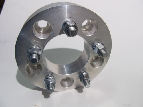 """5x120 to 5x5.5 US Wheel Adapters 1/"""" Thick 12x1.5 Lug Studs Billet Spacers x 2"""