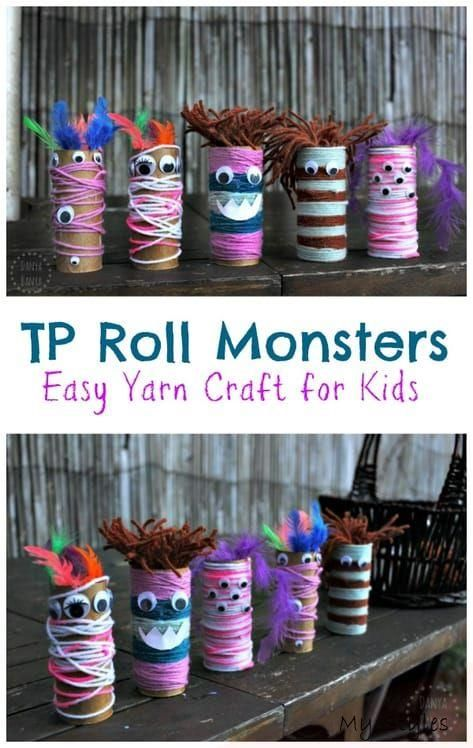 Photo of Sep 3, 2018 – These yarn and toilet paper roll monsters are a fun and easy craft…