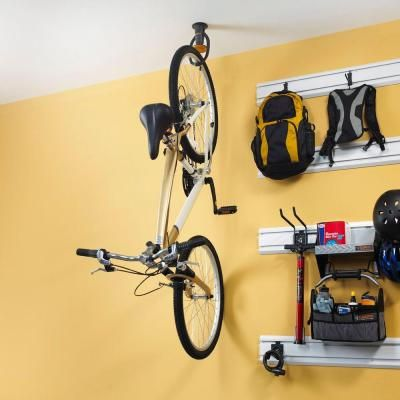 Gladiator Advanced Ceiling Mount Claw Bike Hook Gacexxcpvk The Home Depot Bike Hooks Pallet Shed Plans Bike Room