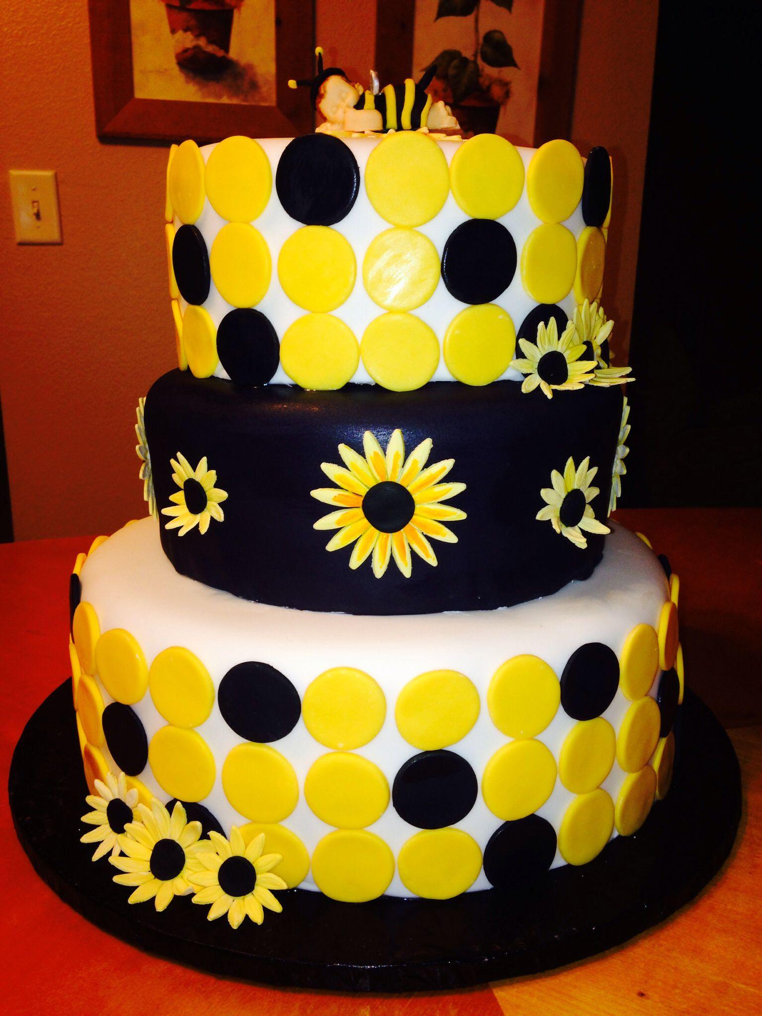 Sunflower Baby Bumblebee Baby Shower Cake