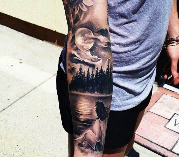 14c0c398ed0fd Tattoo Arm Lake Woman Trees Moon - Title | Tattoos | Sleeve tattoos ...