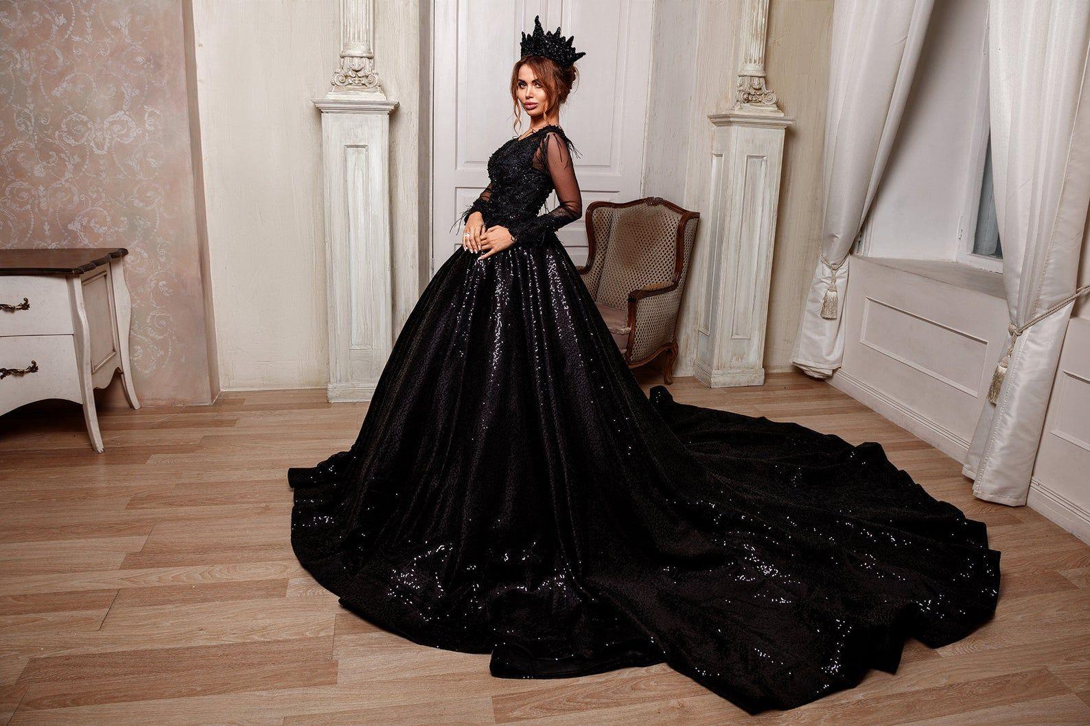 Big Salegothic Black Wedding Dress Ball Gown Crystal Etsy In 2021 Black Wedding Gowns Black Wedding Dress Gothic Black Wedding Dresses [ 1059 x 1588 Pixel ]
