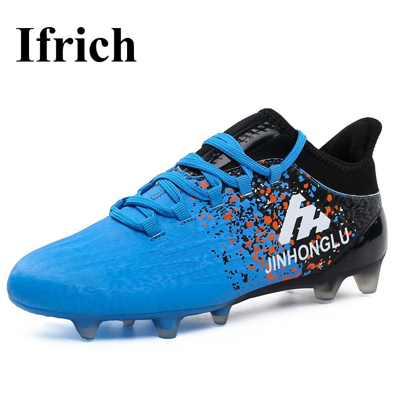 d27b48b9b Ifrich Ifrich 2017 Leather Mens Soccer Boots Outdoor Long Spike Football  Shoes Blue Gray Outdoor Football