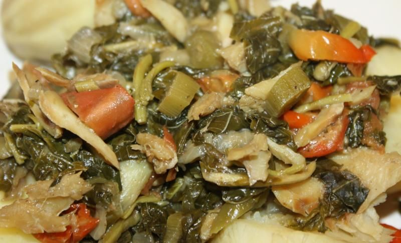 Jamaican callaloo with saltfish i like it as a breakfast food jamaican callaloo with saltfish i like it as a breakfast food served with plaintains and forumfinder Image collections