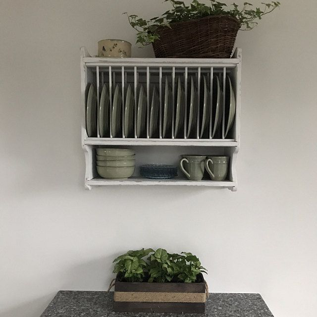 Hanging Plate Rack, Compact 25w Farmhouse Plate Rack,Holds 12 Plates , Country Kitchen Wall Rack, Handmade
