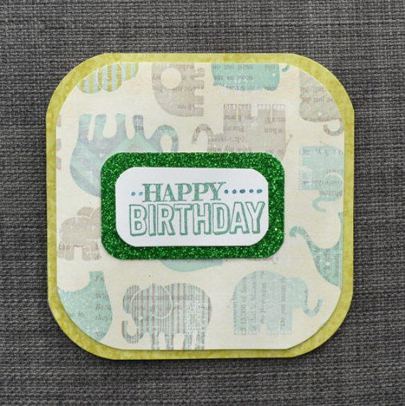 This handmade, Green and blue themed birthday card is ready to ship from Etsy! Who doesn't love elephants!  https://www.etsy.com/ca/listing/507110192/elephant-birthday-card-handmade-happy