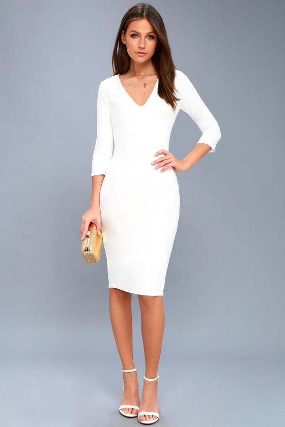 White Bodycon Midi Dress
