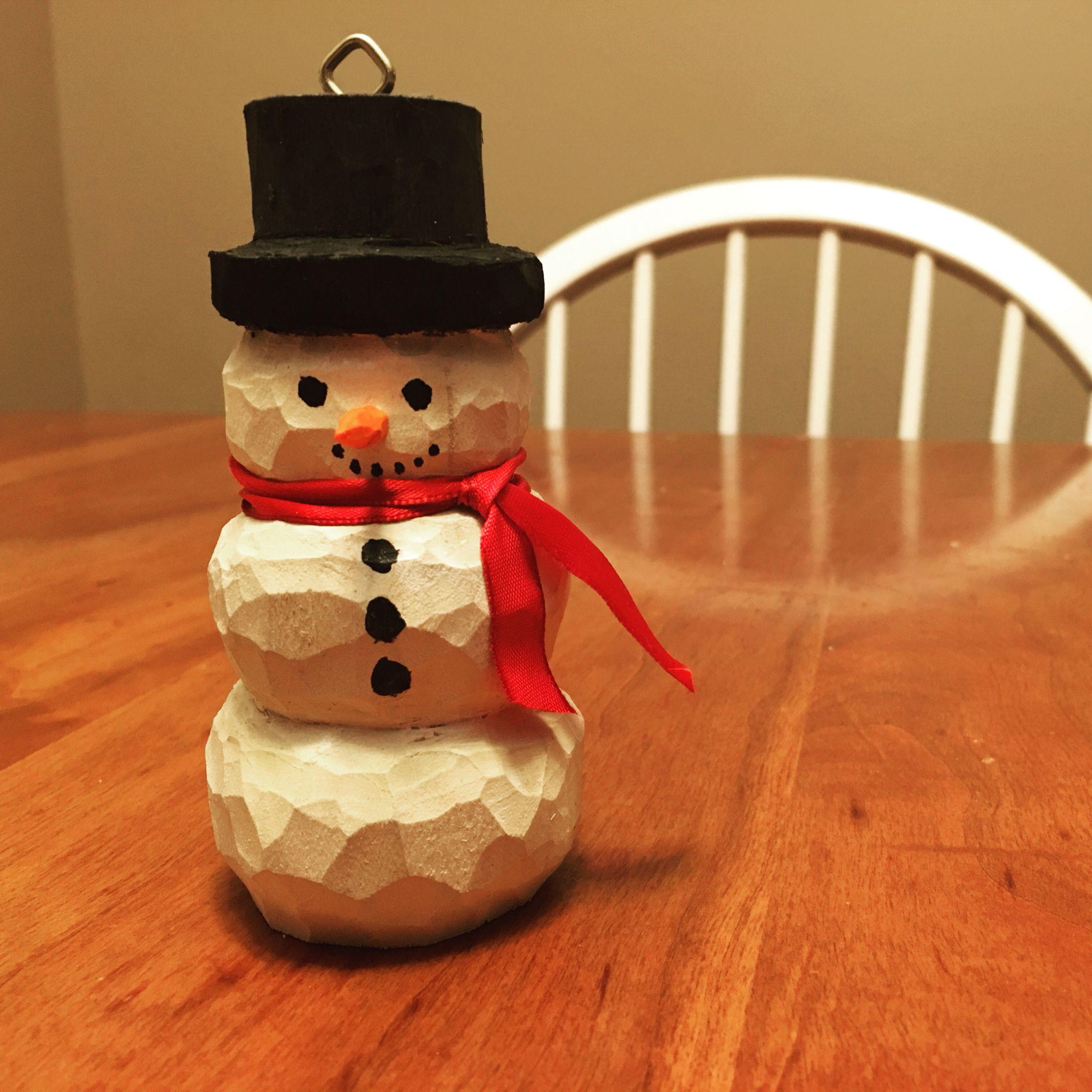 Carved Wood Snowman Ornament Santa Carving Wood Snowman Christmas Wood