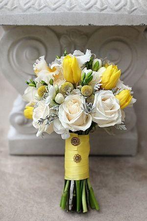 Yellow And Grey Wedding Bouquet Yellow Wedding Flowers Yellow