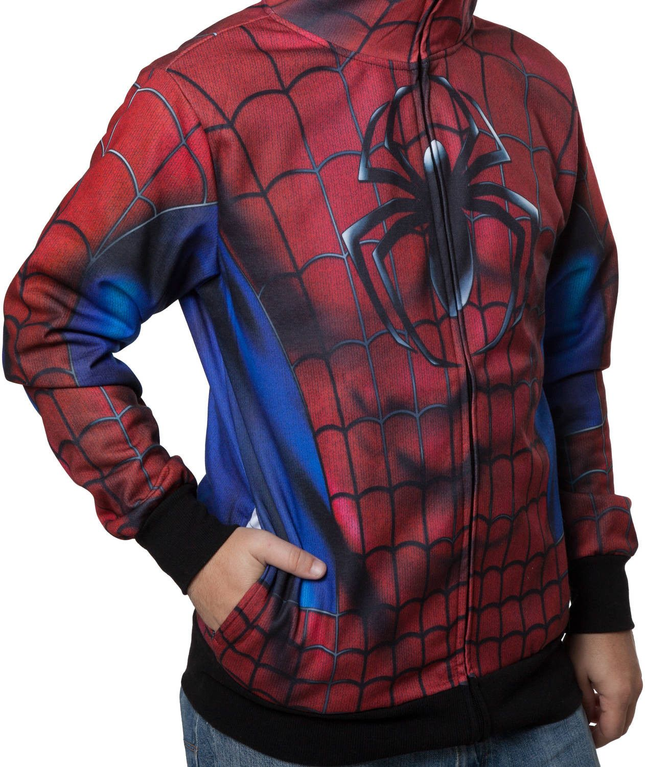 Sublimated Spider Man Costume Hoodie Aesthetic Clothes Spiderman Hoodie Mens Costumes [ 1500 x 1262 Pixel ]