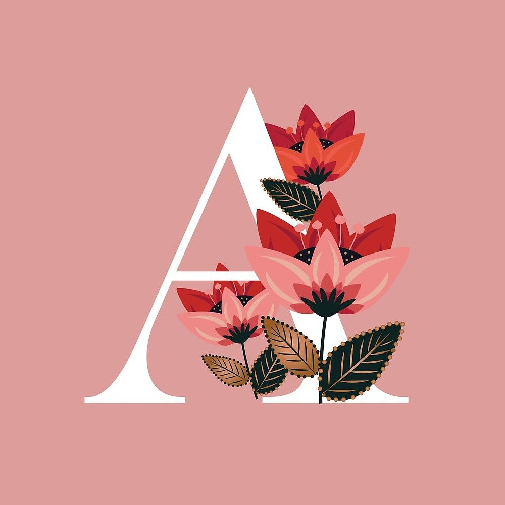 Venice Floral Monogram A By Werlangpaper Redbubble Alphabet Wallpaper Floral Monogram Floral Monogram Letter
