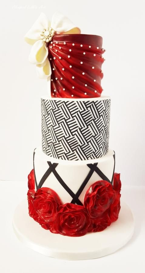 Red and black cake by Nadia