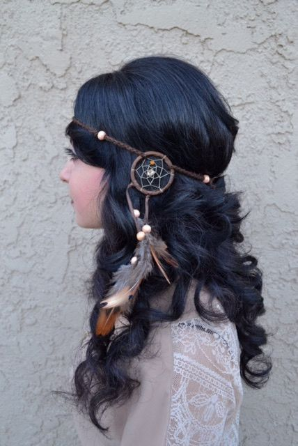 """This Unique Brown Dreamcatcher Feather Headband, With Natural Feathers And Wooden Beads, Is Fully Handmade. Ring Is 2"""" In Diameter (Outer Circle) And Is Attached To A String Of Chained Cotton. Headban"""