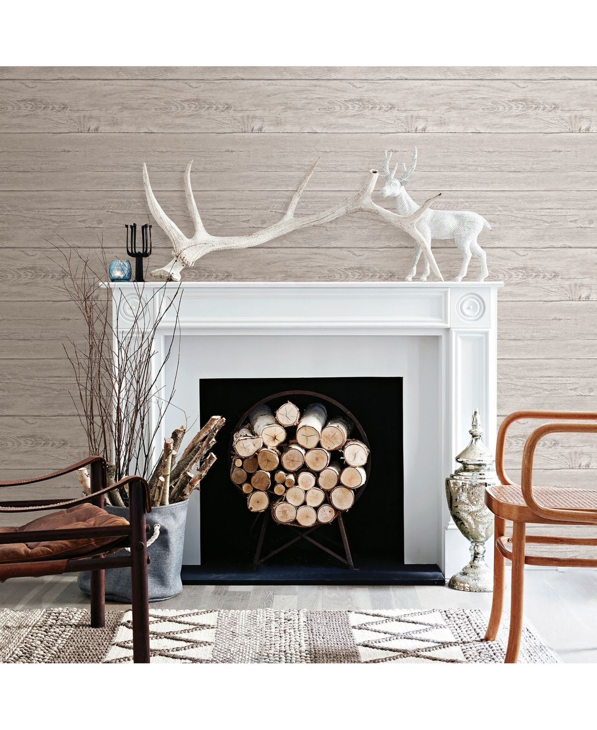 Brewster Home Fashions White Washed Boards Wallpaper 396