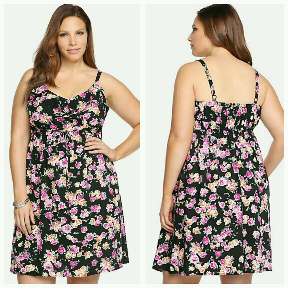 4129d3494e4e4 New Torrid floral ruffle challis tank dress Plus Size 1X 14 16 NWT sun  dresses in Clothing, Shoes & Accessories, Women's Clothing, Dresses | eBay