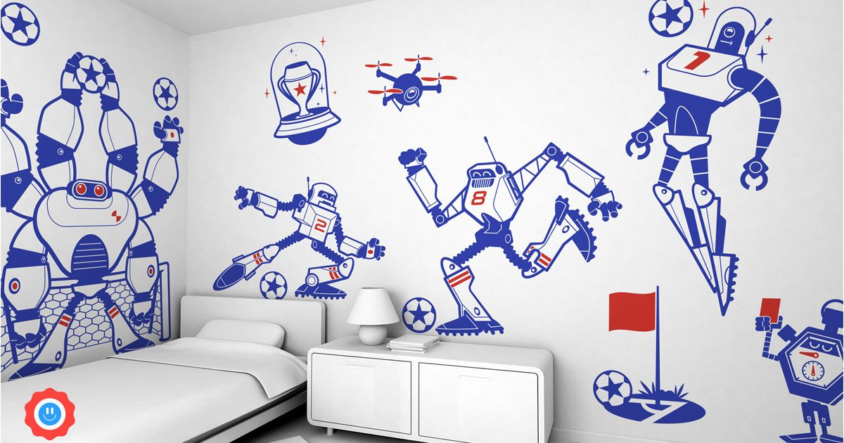 Ensemble de d/'autocollants muraux de robots pour chambre d/'enfant