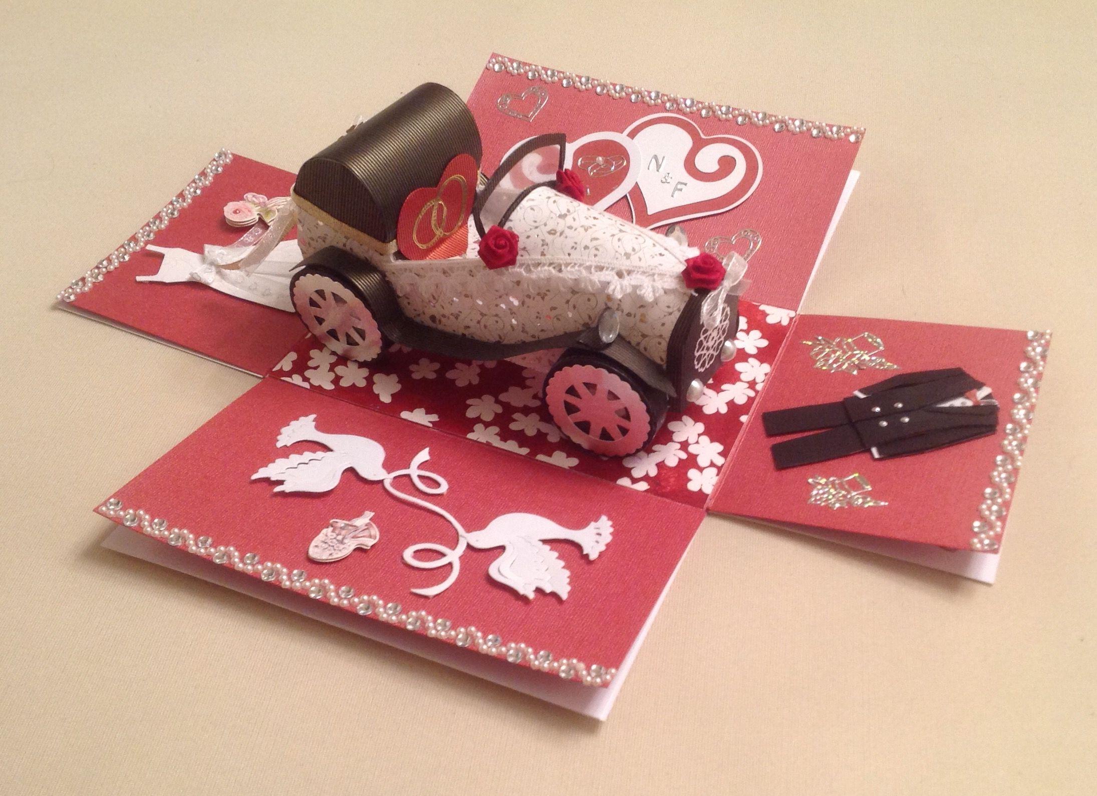 Explosions box mit Hochzeitsauto | kartki | Pinterest | Exploding ...