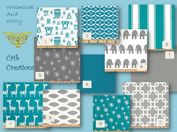 Gray And Teal Custom 3Piece Crib Bedding Set By