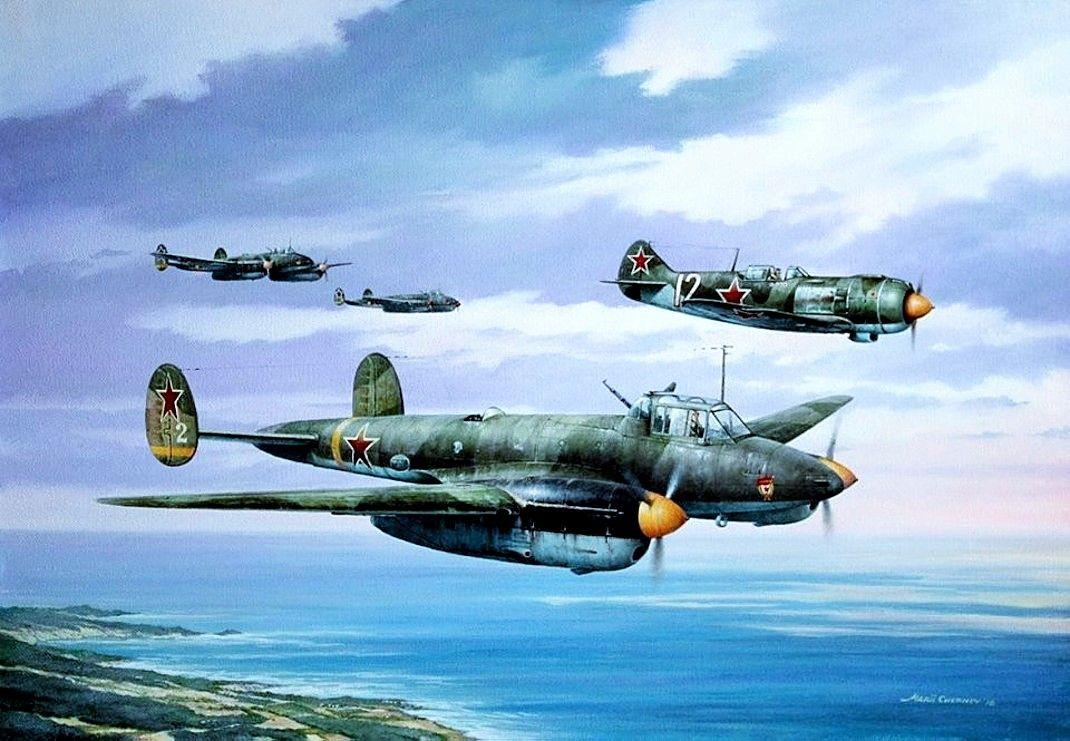 Пе-2 и Лa-5 над Чёрным морем, 1944 - худ.Марий Чернев (с ...