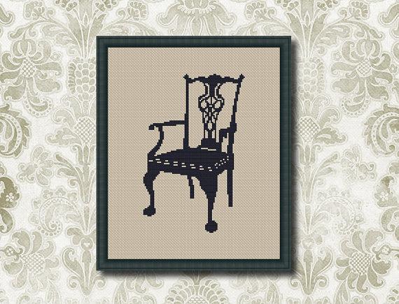Vintage Chair  Counted Cross stitch Pattern PDF Cross Stitch Chart  Cute Cross Stitch Cross stitch pattern pixel art 0022