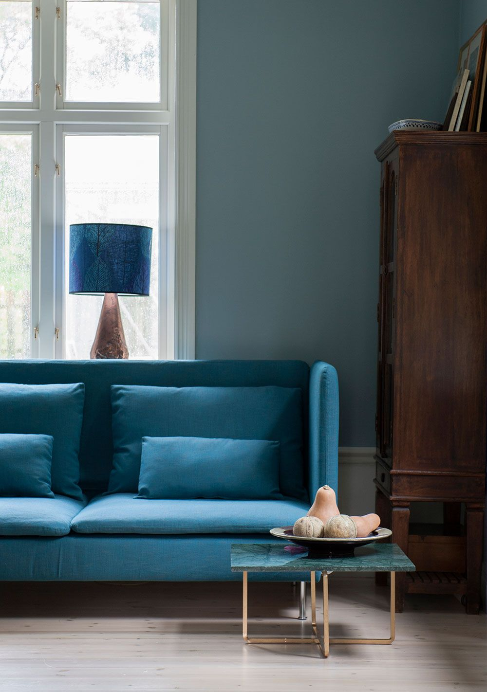 Teal IKEA Sderhamn sofa in Teal Blue Tegner Melange cover by