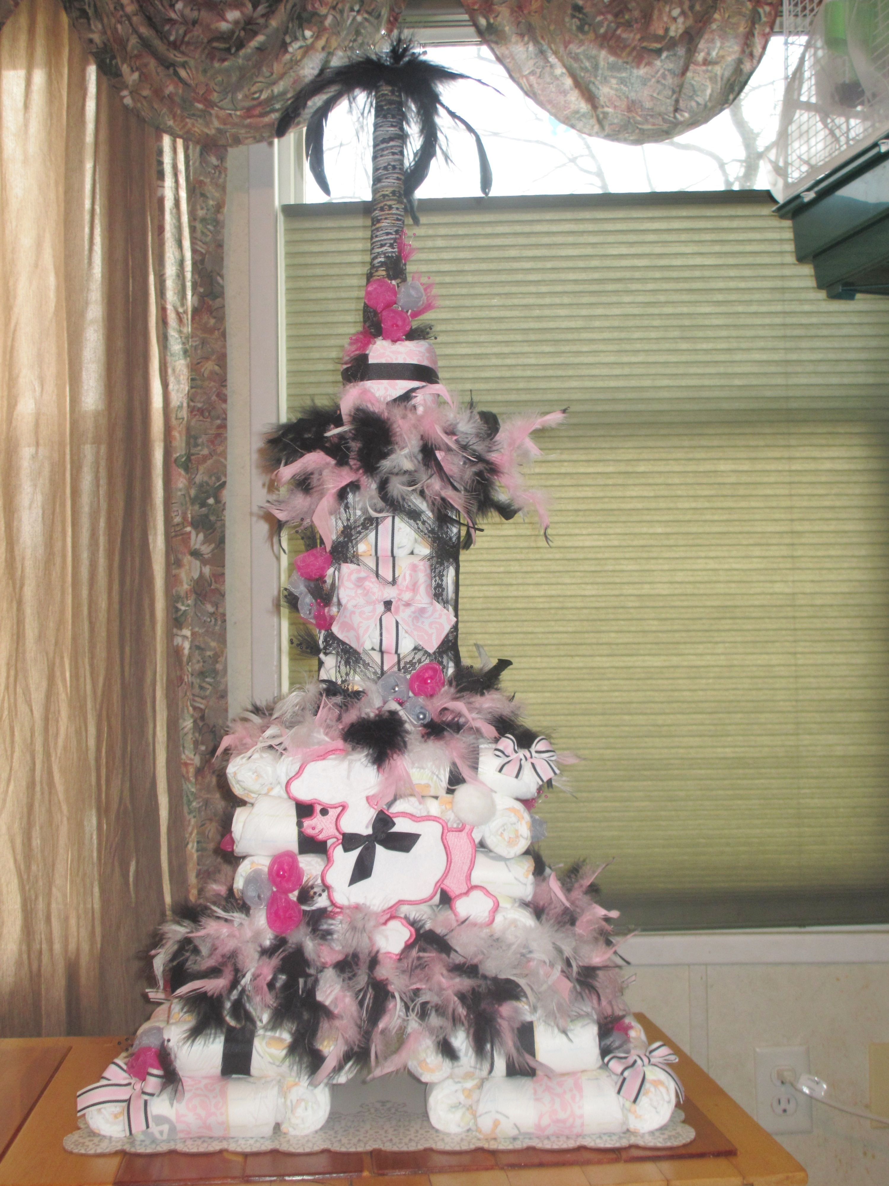 Paris Diaper Cake Eiffel Tower Paris Pink by ... |Eiffel Tower Diaper Cake