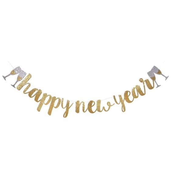 happy new year banner new years eve decoration new years eve party 2018 happy new year sign silver gold glitter garland decor 2018